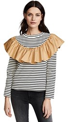 English Factory Striped Top With Contrast Ruffle Stripe Dune