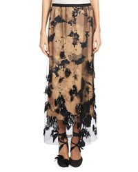 Dries Van Noten Schiller Beaded Tulle Maxi Skirt Beige