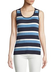 Jones New York Striped Scoopneck Tank Black