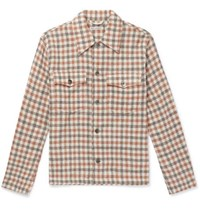 Our Legacy Oversized Checked Alpaca And Wool Blend Overshirt Brown