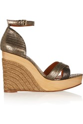Lanvin Metallic Lizard Effect Leather Wedge Sandals