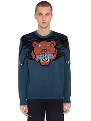 Kenzo Tiger Intarsia Brushed Knit Sweater Blue