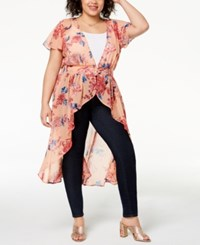 Planet Gold Trendy Plus Size Printed High Low Duster Top Peach Combo