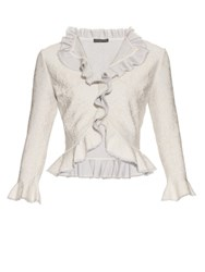 Alexander Mcqueen Lace Effect Knit Ruffle Cardigan Light Grey