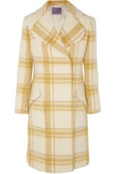 Alexachung Belted Checked Wool Blend Coat Pastel Yellow