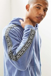 Urban Outfitters Uo Velour Jacquard Taped Hoodie Sweatshirt Sky