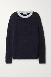 Gabriela Hearst Net Sustain Lawrence Two Tone Cashmere Sweater Navy