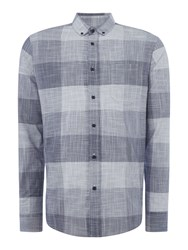 Linea Kelvin Slub Check Shirt Blue
