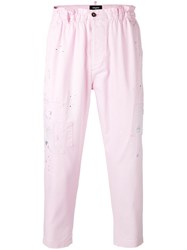 Dsquared2 Cropped Chino Trousers Pink Purple