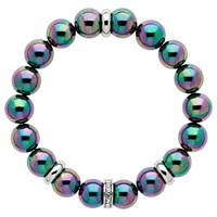 Finesse Glass Pearl And Crystal Rondelle Beaded Stretch Bracelet Petrol