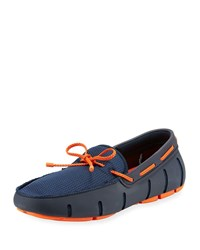Swims Mesh And Rubber Braided Lace Boat Shoe Navy