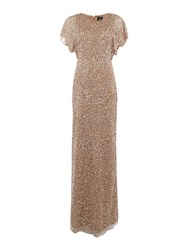 Adrianna Papell Flutter Sleeve Beaded Maxi Dress With Pearl Dress Bronze