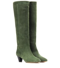 Isabel Marant Etoile Robby Suede Knee High Boots Green