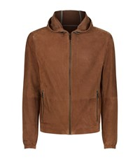 Michael Kors Perforated Hooded Suede Jacket Male Brown