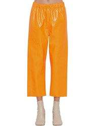 Maison Martin Margiela Crackled Shiny Leather Pants Neon Orange