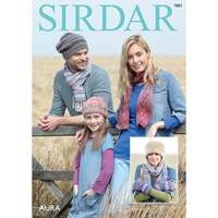Sirdar Aura Chunky Hat And Scarf Knitting Pattern 7883