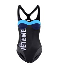 Vetements Logo Printed Swimsuit Black