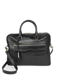 Saint Laurent Crocodile Embossed Leather Briefcase Black