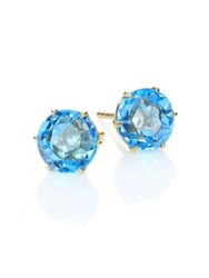 Ippolita Rock Candy Swiss Blue Topaz And 18K Yellow Gold Medium Stud Earrings