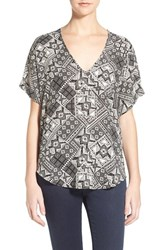 Junior Women's Lush Cuff Sleeve Woven Tee Black Ivory Floral Tile