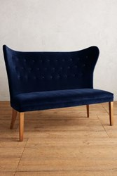 Anthropologie Velvet Wingback Bench Armless Navy
