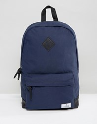 Asos Backpack In Navy Canvas With Faux Leather Base Navy