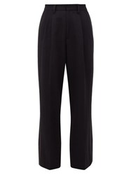 Marc Jacobs High Rise Silk Striped Wool Trousers Black