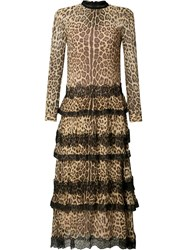 Red Valentino Leopard Print Ruffled Dress Black