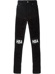 Hood By Air Logo Print Ripped Jeans Black