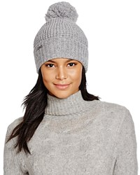 Michael Kors Waffle Stitch Hat With Pom Pom 100 Bloomingdale's Exclusive Pearl Heather Gray