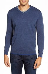 Men's Bugatchi V Neck Merino Wool Sweater Midnight