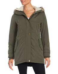 Larry Levine Faux Fur Trimmed Anorak Coat Loden Green