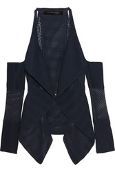 Roland Mouret Brewer Cutout Open Knit Cardigan Midnight Blue
