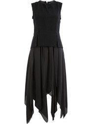 Masnada Asymmetric Full Skirt Dress Black