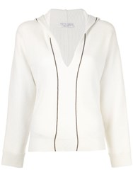 Brunello Cucinelli Hooded Knit Top White
