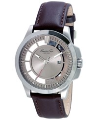 Kenneth Cole New York Men's Brown Leather Strap Watch 45Mm 10027444 Silver