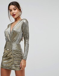 Ivyrevel Shimmer Dress With Ruched Front Gold