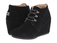 Toms Desert Wedge Black Suede W Shearling Women's Wedge Shoes
