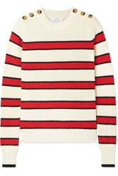 La Ligne Striped Ribbed Knit Cotton Sweater Cream