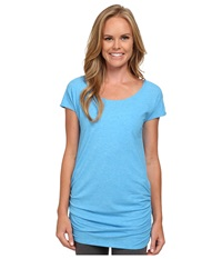Lucy Yoga Girl Tunic Top Bright Blue Heather Women's Workout