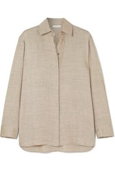 The Row Big Sisea Oversized Wool And Silk Blend Blouse Beige