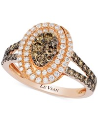 Le Vian Chocolatier Chocolate Deco Diamond Framed Cluster Ring 1 Ct. T.W. In 14K Rose Gold No Color