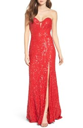 Mac Duggal Women's Front Slit Sequin Strapless Gown