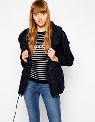 Mbym Hooded Jacket With Front Pockets And Drawstring Hem Navy