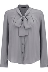 Marc By Marc Jacobs Judo Pussy Bow Washed Silk Blouse Gray