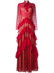 Zuhair Murad Ruffled Lace Effect Dress Red