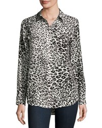 Equipment Slim Signature Animal Print Shirt Nature White True Black Nature White True