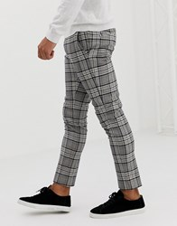 River Island Super Skinny Fit Smart Trousers In Navy And Grey Check
