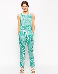 See U Soon Geo Tribal Print Jumpsuit Green