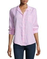 Frank And Eileen Barry Long Sleeve Grid Print Shirt Pink